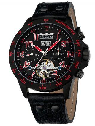 Perigaum Herren Uhr Automatik Leder Armband Chronograph P - 1105 - Ib - Sr - Le Bild