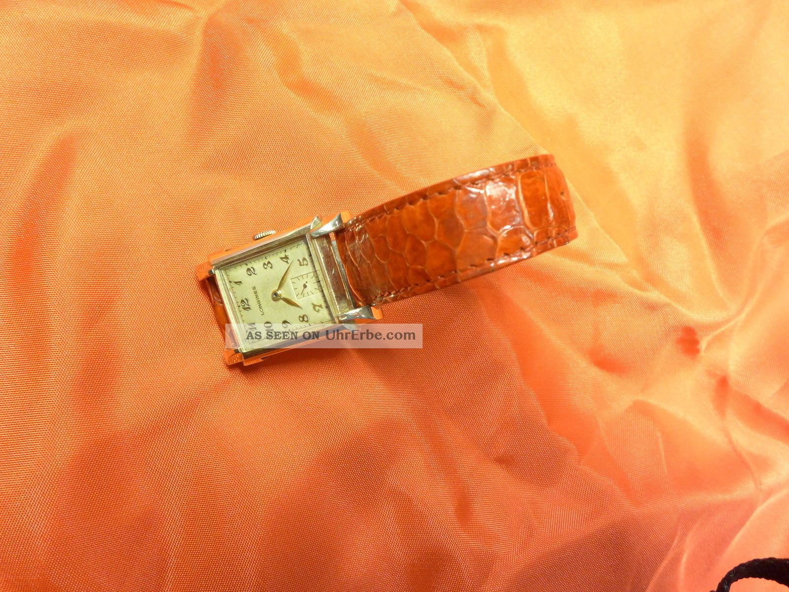 Longines Uhr Gold 10 K Swiss Mechanisch Uhrwerk Lederarmband Armbanduhren Bild