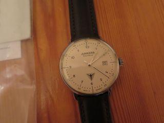 Junkers Bauhaus Herrenuhr 6046 - 5 Uhr Quarz Lederarmband Stowa Armband 40mm Bild