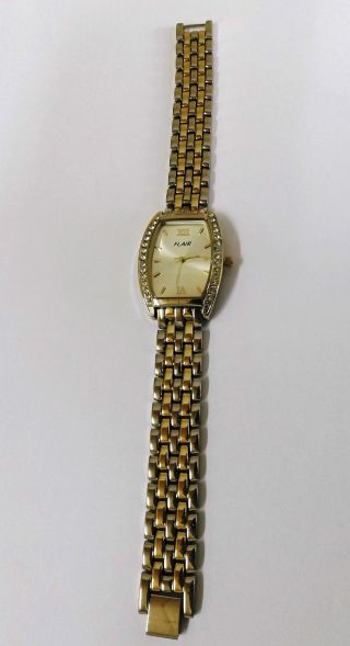 Angebot Flair Damenuhr Strass Gliederarmband Bicolor Armbanduhr 3 Atm Tf214 Bild