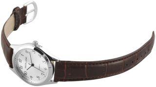 Excellanc Herrenuhr Braunes Band Armbanduhr Ziffernblatt Silber Se349 Bild