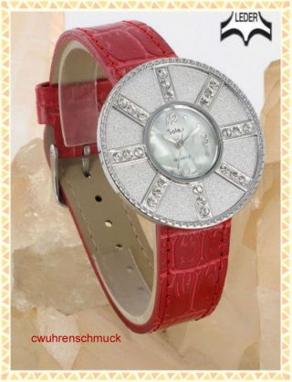 Sole Echtleder Strassuhr Armbanduhr Rot Oder Rosa Bild