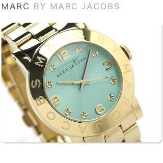 Neue Marc Jacobs Damen - Armbanduhr Armband Gold Amy Swarovski Minze Zifferblatt Bild