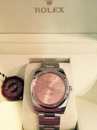 Rolex Airking.  Referenz: 114200.  Rosé.  Mit Box,  Papieren Und Bild