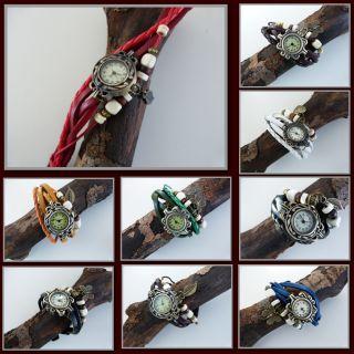 Wickeluhr Damenarmbanduhr Vintage Uhr Armbanduhr Damenuhr Lederarmband Bild