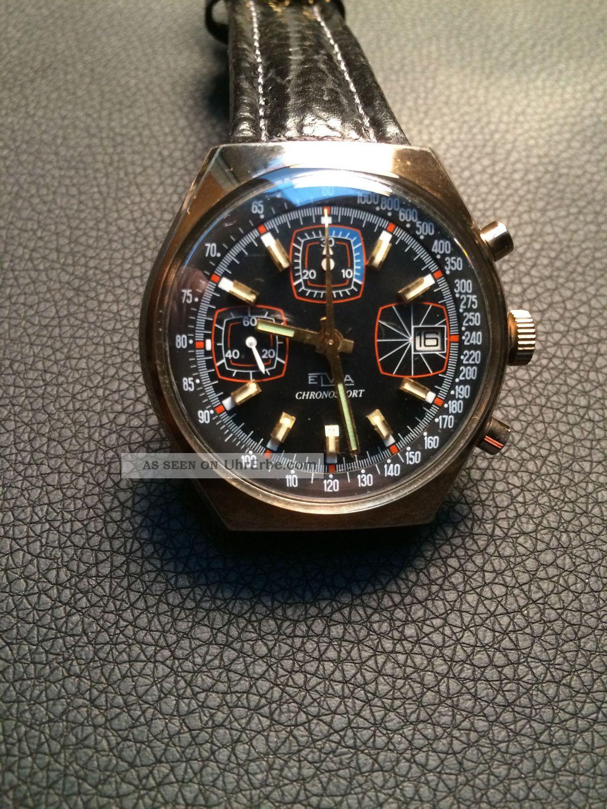 Elvia Chronosport Mit Datum Ca 60 / 70 Er Jahre Vergoldet Armbanduhren Bild