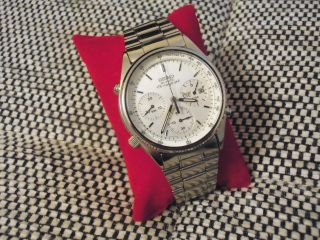 Seiko Chronograph 7a38 - 7060 Edelstahl Herren Uhr Aus Nachlass 1 Tag Bild