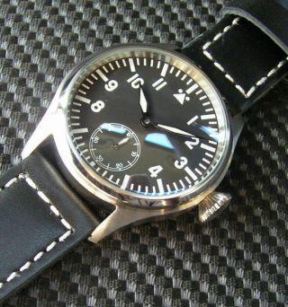 Fliegeruhr B - Uhr Parnis Pilot Seagull 6497 Handaufzug Herrenuhr Marina B Uhr Bild