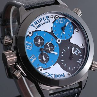 Zeiger Herren Uhr Massiv 3 Zeitzonen Blau Herren Analog Quarz Leder Armbanduhr Bild