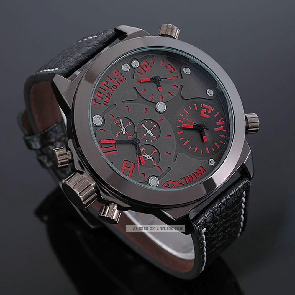 zeiger xxl massiv rot 3 zeitzonen herrenuhr herren uhr leder armbanduhr uhren. Black Bedroom Furniture Sets. Home Design Ideas
