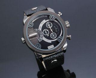 Zeiger Herren Uhr Analog Quarzuhr Leder Armbanduhr Mit 2 Zeitzonen Bild