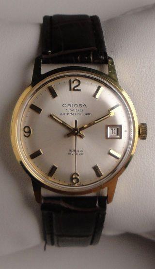 "Elegante Vintage Armbanduhr Automatic Oriosa ""automat De Luxe"" M.  Datumsanzeige Bild"