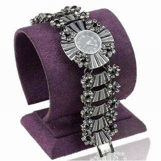 Emaille Florales Smoky Silber Plated Kristall Armbanduhren Mode Armreif Watch Bild