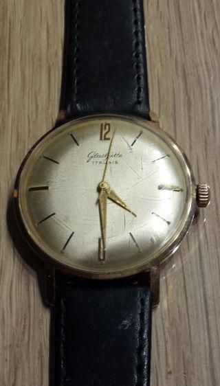 Glashütte 17 Rubis Gold - Plaque Armbanduhr; Sammlerstück Min 50 Jahre Al Bild