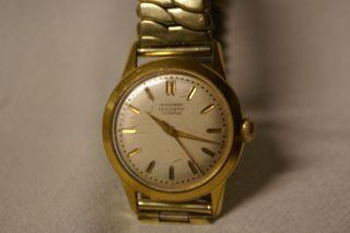 Alte Hau Uhr Von Junghans Trilastic Vergoldet 17 Jewels Bild