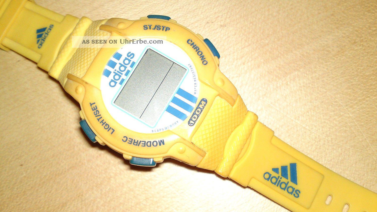 Adidas Armbanduhr Gelb 100m Water Resistant Wasserdicht Chrono Armbanduhren Bild