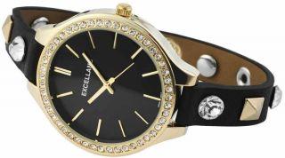 Damen Uhr Excellanc Kunst - Leder Armbanduhr Schwarz Gold Strass Bild