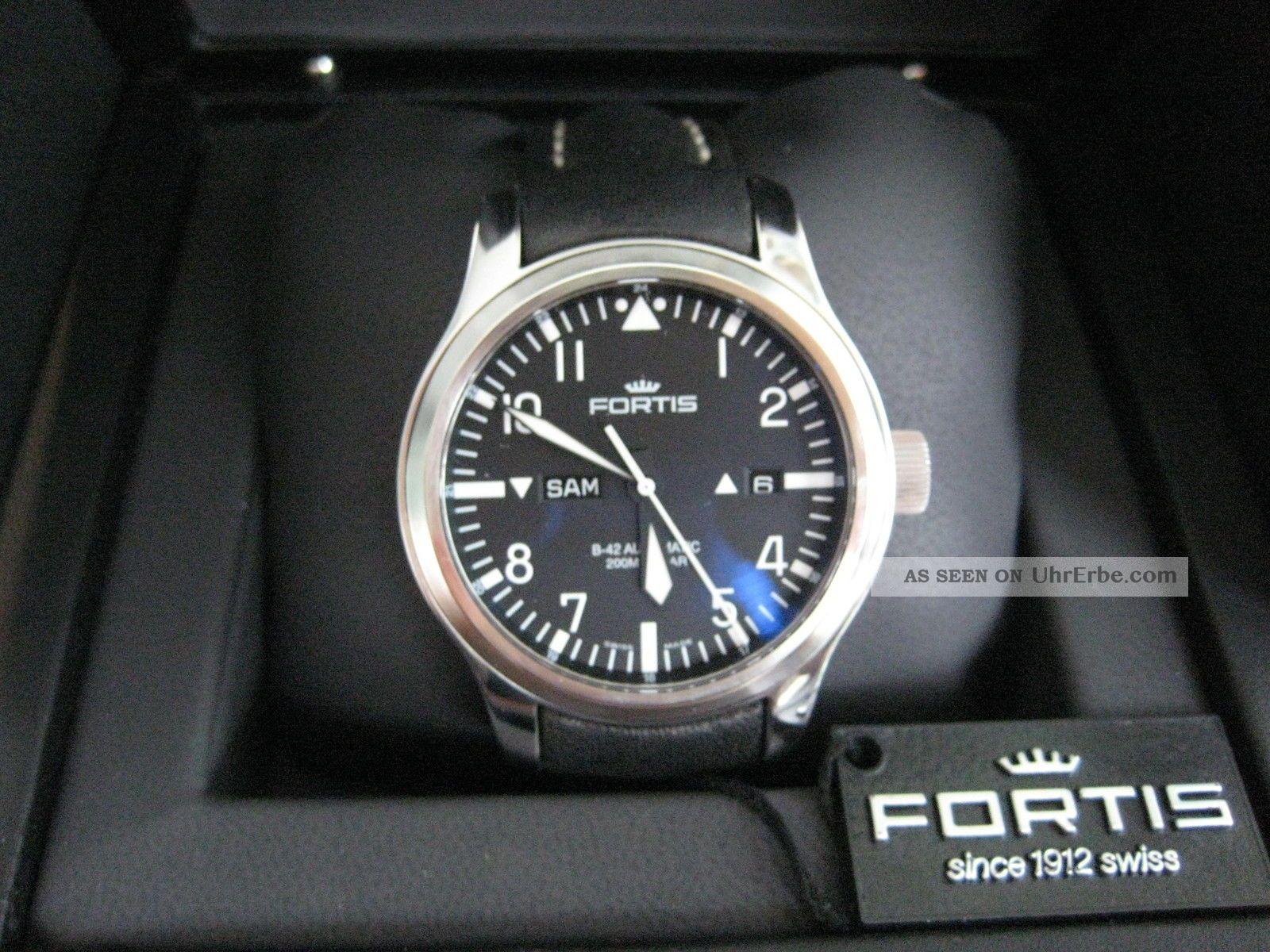 Fortis B - 42 Flieger Day/date 655.  10.  11 Fast Neuwertig Bzw.  Wie Armbanduhren Bild