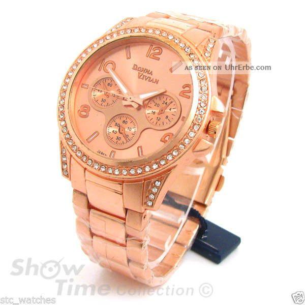 Neue Rose Gold 3d Kristall Lünette Damen Boyfriend Stil Uhr Armbanduhren Bild