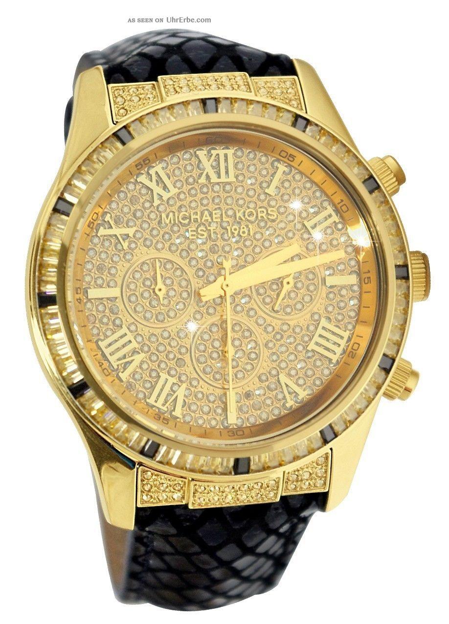 michael kors mk2310 damenuhr gold chronograph leder strass. Black Bedroom Furniture Sets. Home Design Ideas