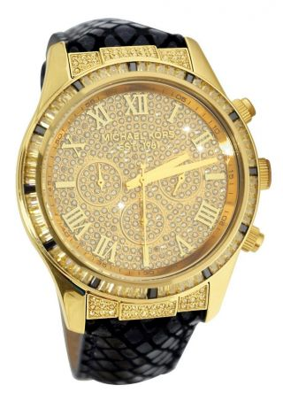 Michael Kors Mk2310 Damenuhr Gold Chronograph Leder Strass Bild