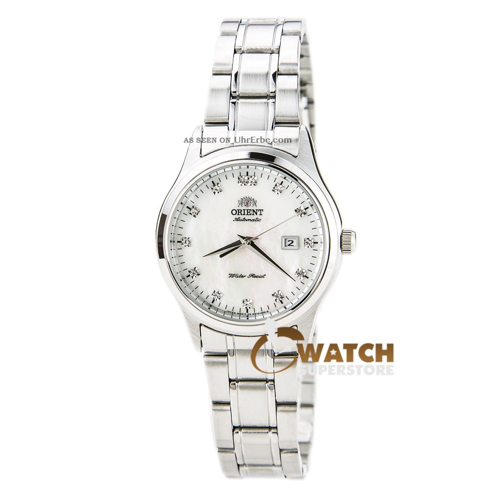 Orient Nr1q004w Damen ' S Weißes Ziffernblatt Stahl Automatische Kristall Uhr Armbanduhren Bild