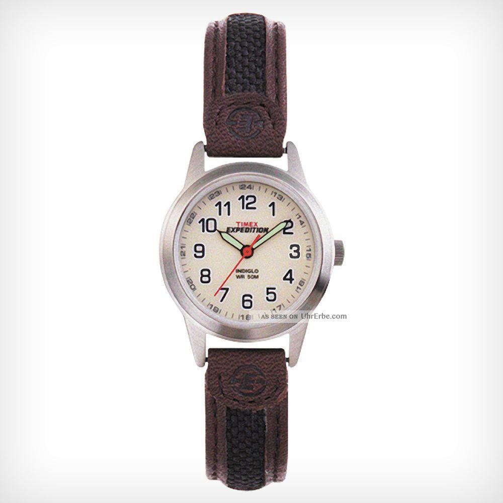 Timex T41181 Damen ' S Weiß Dial Nylon Und Braun Band Stahl Watch Armbanduhren Bild