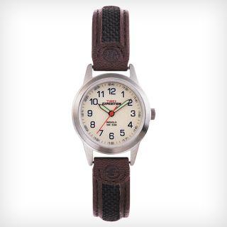 Timex T41181 Damen ' S Weiß Dial Nylon Und Braun Band Stahl Watch Bild
