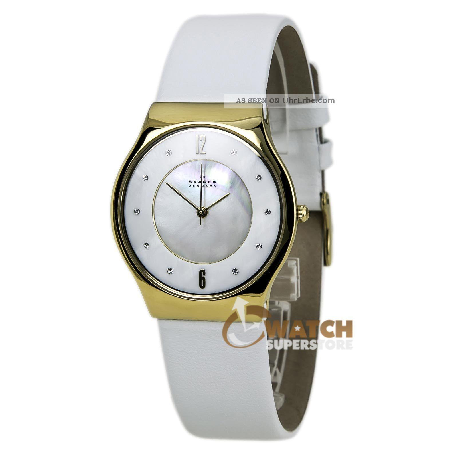 Skagen Skw2027 Frauenuhr Dänemark Mop Zifferblatt,  Gold/stahl,  Weißes Lederarmband Armbanduhren Bild