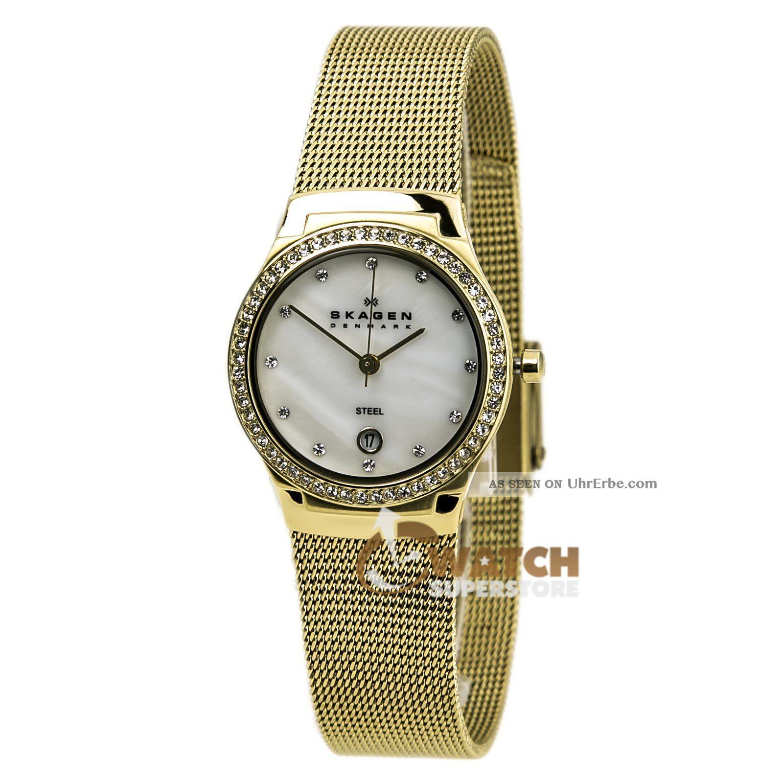 Skagen Skw2040 Damen Dänemark Kris.  Mop Gold Zifferblatt &stahlgitter Armbanduhr Armbanduhren Bild