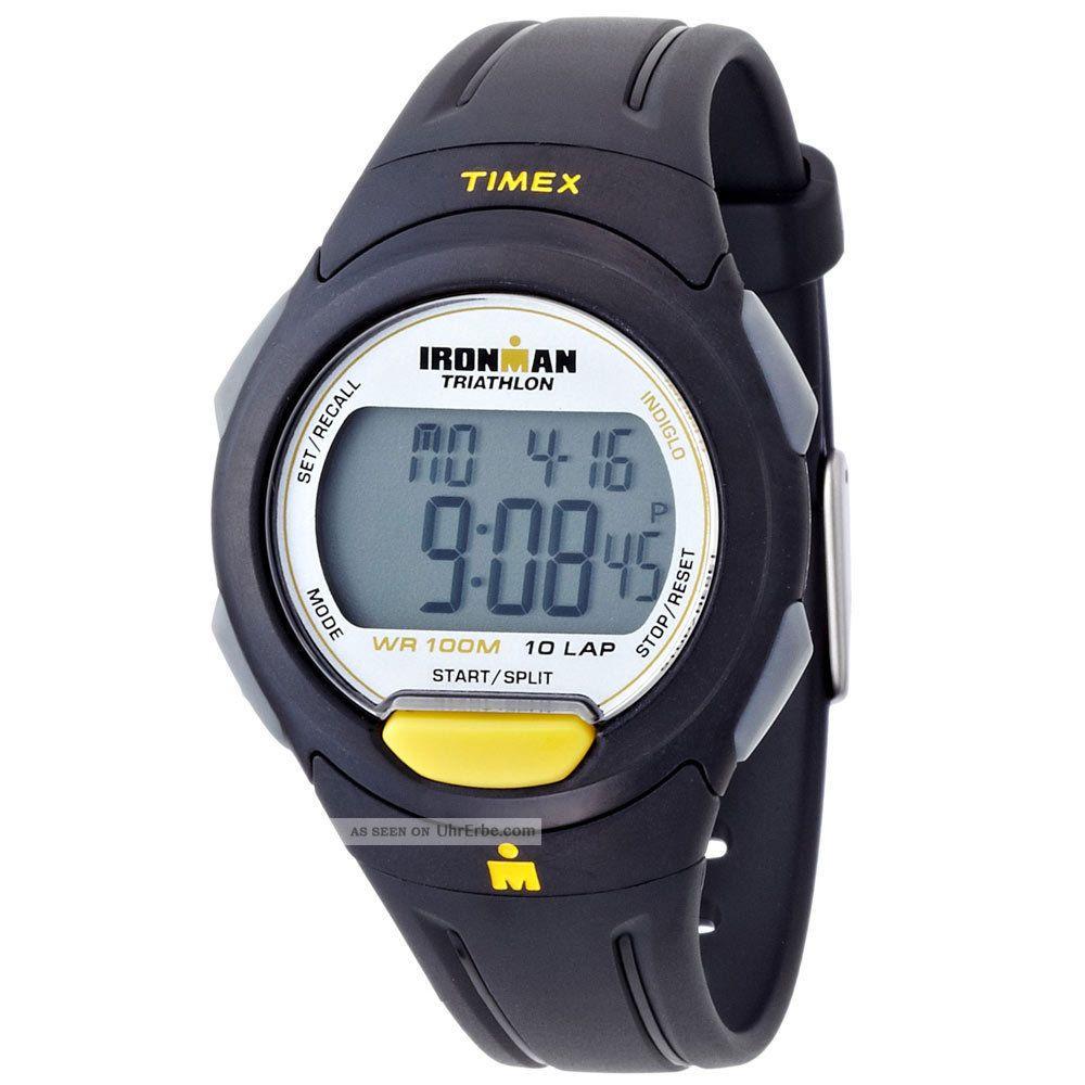 Herren Armbanduhr Timex Ironman Triathlon Indiglo Grau Digital Schwarz T5k779 Armbanduhren Bild