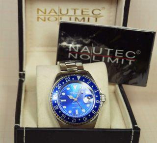Nautec No Limit Automatic Herrenuhr (300 M Wr) Gmt In Edelstahl Bild