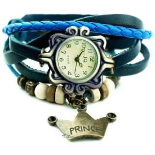Neuer Frauen Armbanduhr Quarz Lederband Blatt Hängende Verzierung Bild