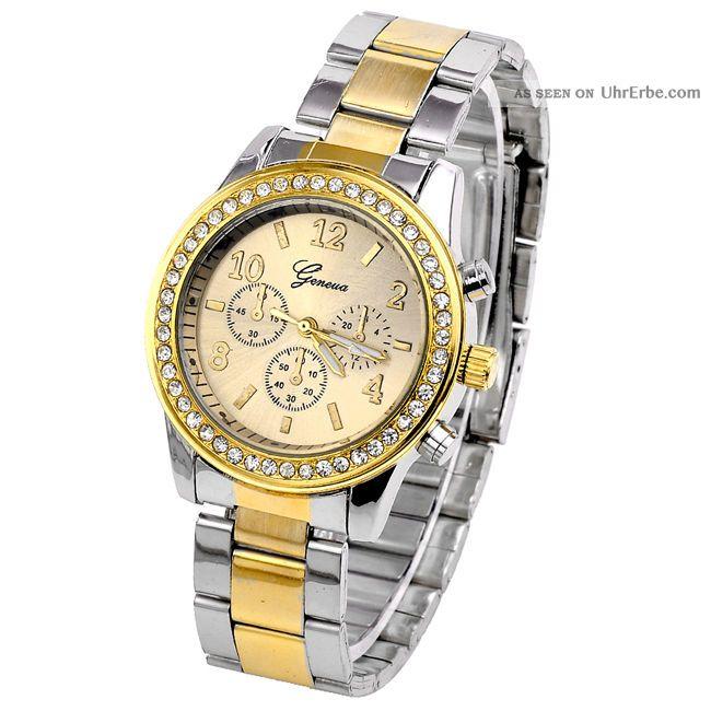 Geneva Edelstahl Armbanduhr Damen Herrenuhr Kristalle Strass Quarzuhr Goldsilber Armbanduhren Bild