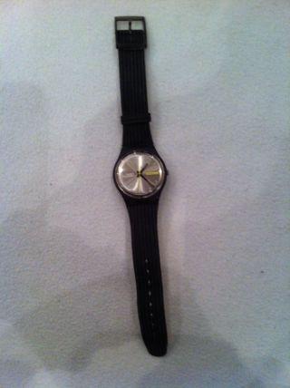 Swatch - Uhr Unisex Schwarzes Lederarmband Bild
