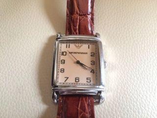 Armani Uhr Damenuhr Herrenuhr Unisex Lederarmband Braun Bild