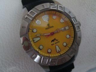 Festina Herrenuhr Herren Uhr Armbanduhr Schwarz Gelb Wasserdicht Bis 200 M F6692 Bild