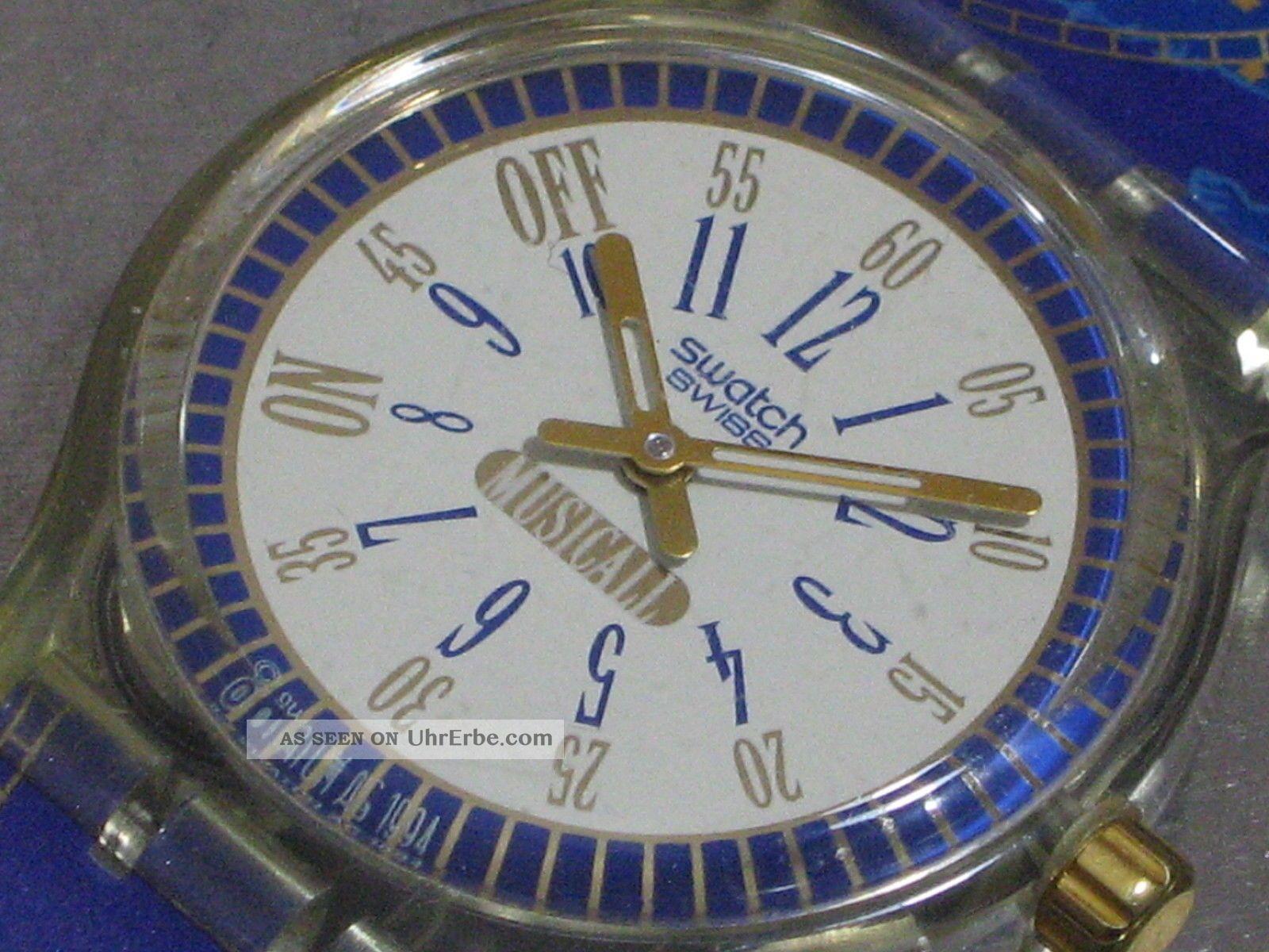 Swatch Musicall Call Up Slk105 Herren - Armbanduhr Alarm Batt.  Ovp Top Armbanduhren Bild