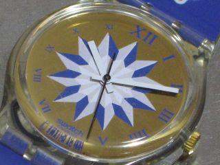 Swatch Gent Blue Anchorage Gk140 Herren - Armbanduhr Batt.  Sammelwürdig Bild
