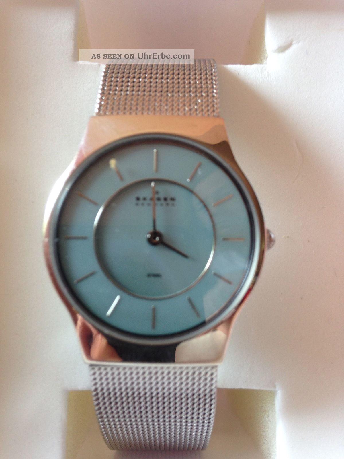 Skagen Uhr Damen Edelstahl Milanaise Armband Flach Edel - Elegant Armbanduhren Bild