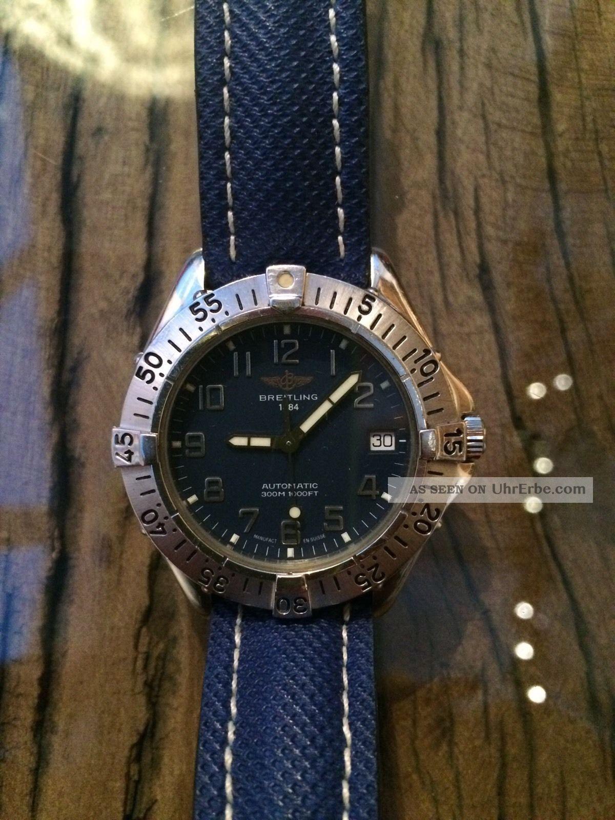 Breitling Colt Automatik Ll Herren Uhr 37mm Stahl/stahl Blau Armbanduhren Bild
