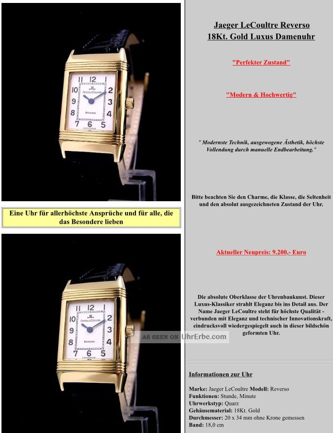 Jaeger - Lecoultre Reverso 18kt.  Gold Damenuhr Armbanduhren Bild