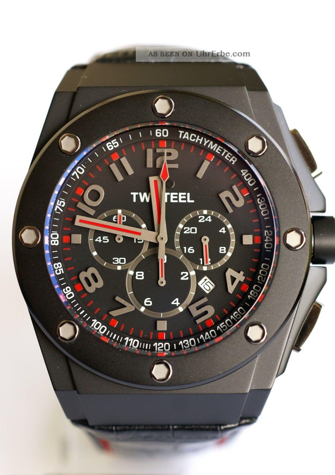Tw - Steel - Chrono,  Schwarz,  Mit Lederband,  Twce4009 Armbanduhren Bild