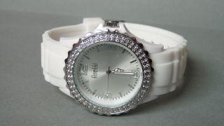 Firetti - Stylische Damen Silikon Uhr,  Glaskristallen - Weiß - Wasserdicht Bild