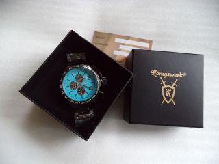 Königswerk Uhr Gun Metall Xxl,  Blauem Ziffernblatt,  Und Ungetragen Bild