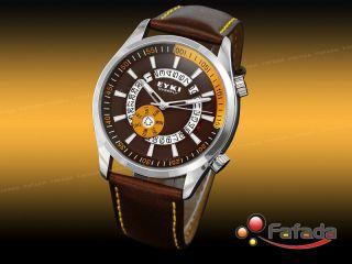 Eyki Analog Quarz Herrenuhr Damenuhren Pu Lederband Tag - Datum Armbanduhr Uhr Bild