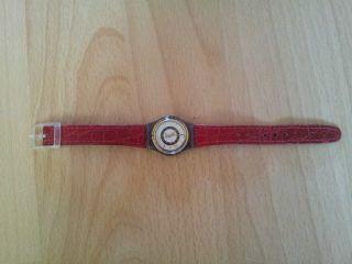 Swatch Damen Uhr Leder Armband Rot Kroko Bild