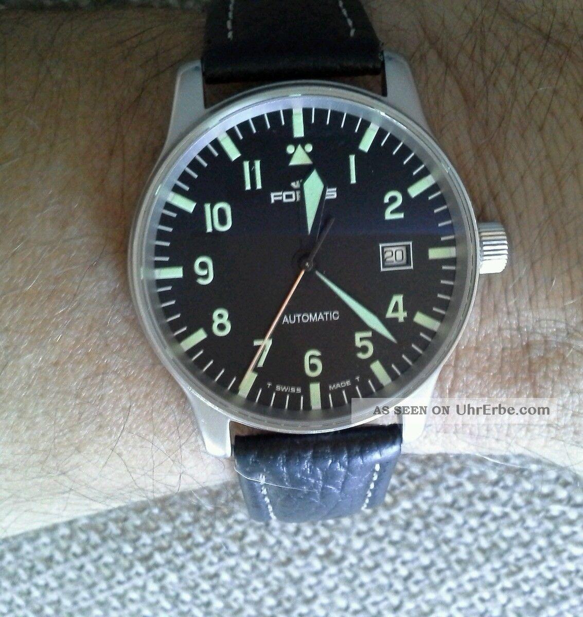 Fortis Armband Uhr Fliegeruhr Leder Faltschliesse Automatik Armbanduhren Bild