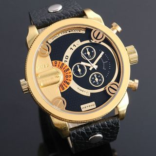 Zeiger 14k Vergoldet Zwei Zeitzonen Herren Armbanduhr Analog Quarz Herren Uhr Bild