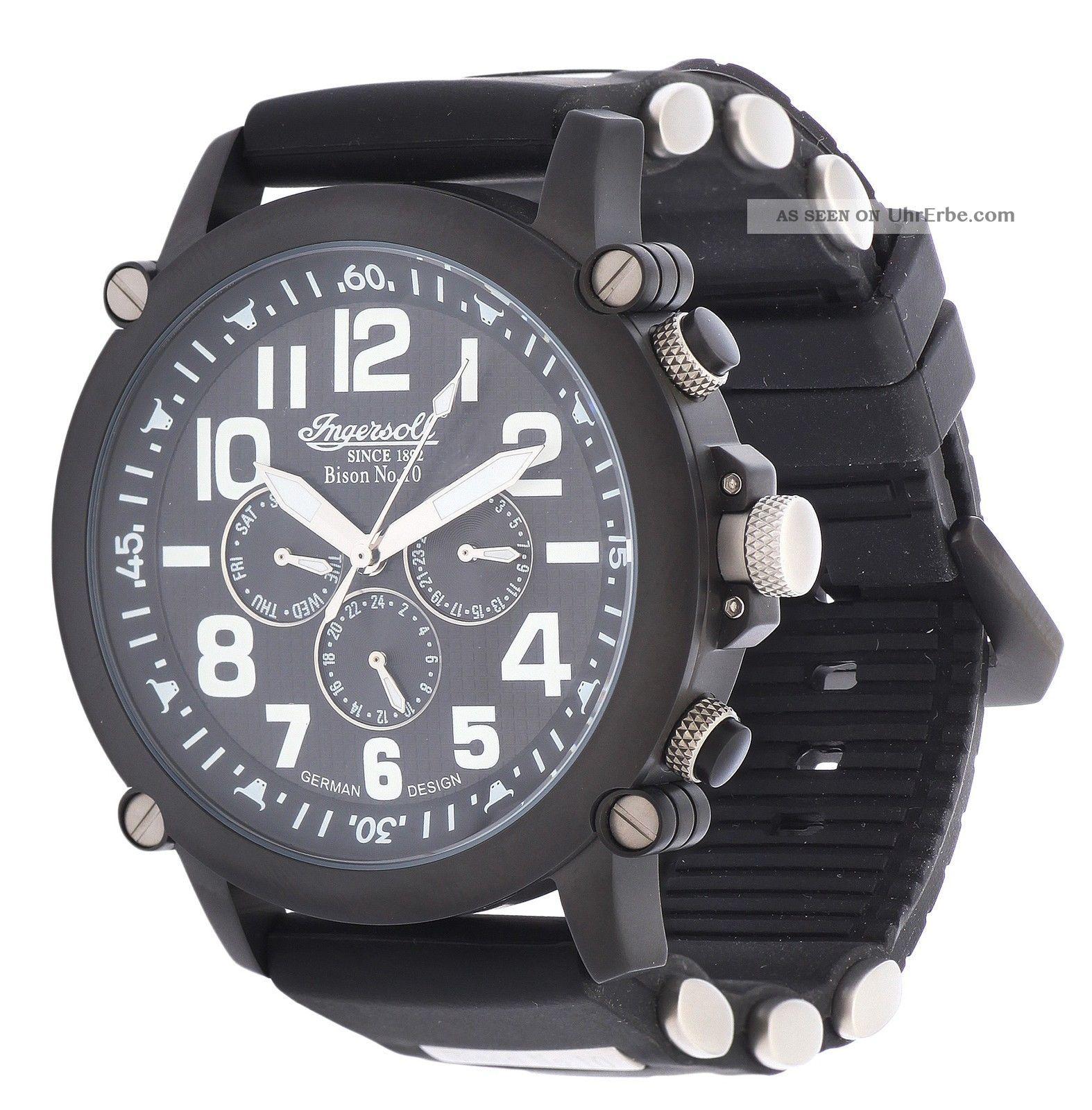 Ingersoll Herren Automatik Uhr Bison No.  10 Schwarz In1610bbk Armbanduhren Bild